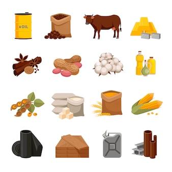 Varie icone piane di materie prime con prodotti alimentari e materiali