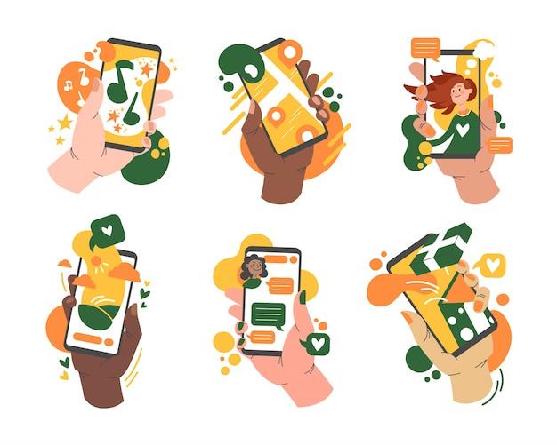 Varie mani che tengono smartphone con set di app
