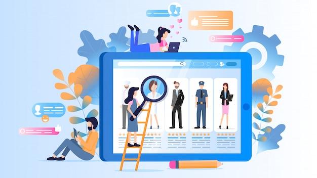 Varie occupazioni avatar sul monitor del dispositivo tablet