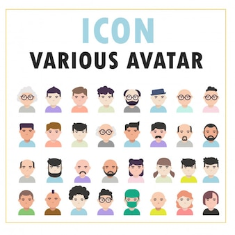 Varie persone avatar con design piatto