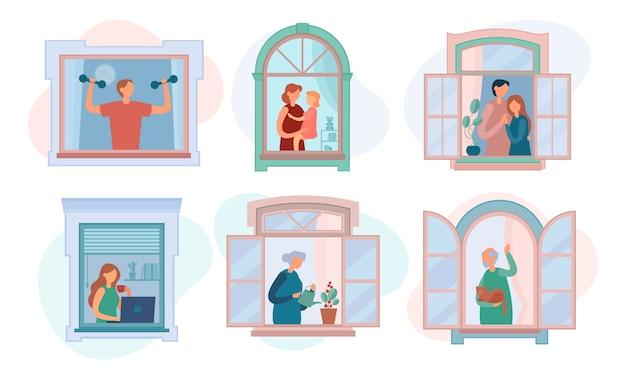 Varie persone moderne nelle finestre di casa