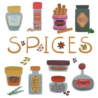 Varie spezie ed erbe aromatiche, cannella, basilico, curry, pepe, sale, rosmarino, timo e aceto illustrazioni di cartoni animati