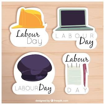 Varietà di adesivi festa del lavoro