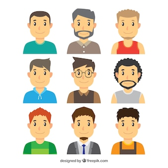 Varietà di avatar di giovani uomini