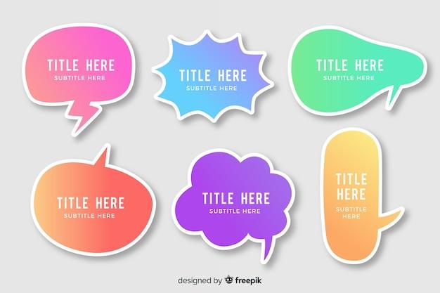 Varietà di bolle di discorso sfumato colorato