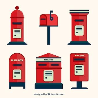 Varietà di caselle di posta in design piatto