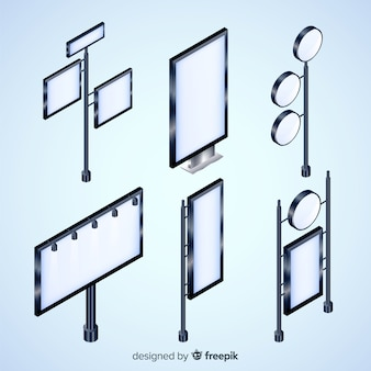 Varietà di collezione di design cartellone isometrico