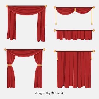 Varietà di collezione di tende rosse piatte