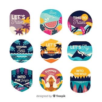 Varietà di design piatto dell'etichetta di viaggio vintage