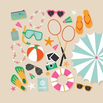 Varietà di elementi di spiaggia
