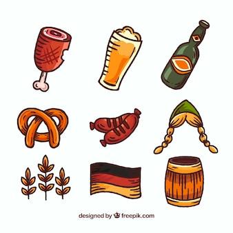 Varietà di elementi tedeschi disegnati a mano
