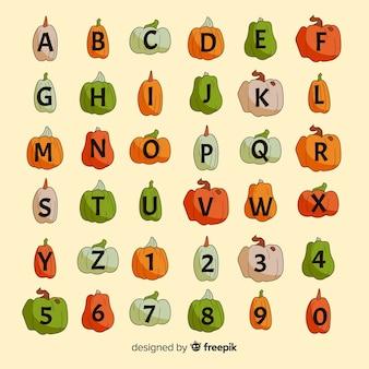 Varietà di halloween di alfabeto di zucche