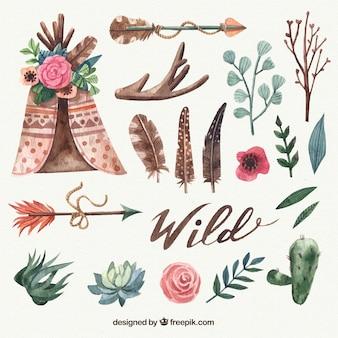 Varietà di oggetti etnici in stile acquerello