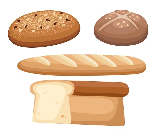 Varietà di pane. impostare il prodotto per il pane. pagnotta di mattoni, bastone o baguette, toast. illustrazione di panetteria piatto isolato su sfondo bianco.