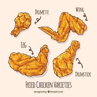 Varietà di pollo fritto disegnato a mano