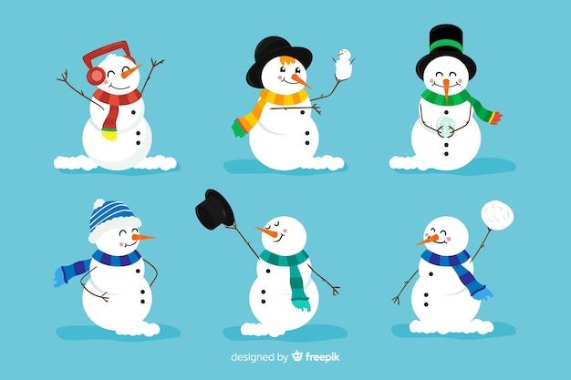 Varietà di pupazzo di neve con sciarpe