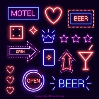 Varietà di segni di luce al neon