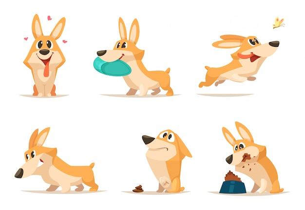 Vario piccolo cane divertente nelle pose di azione