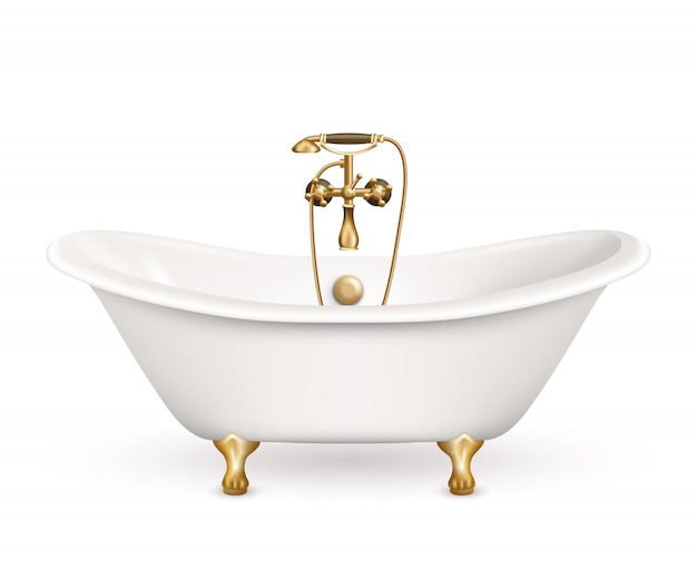 Vasca da bagno retro realistica