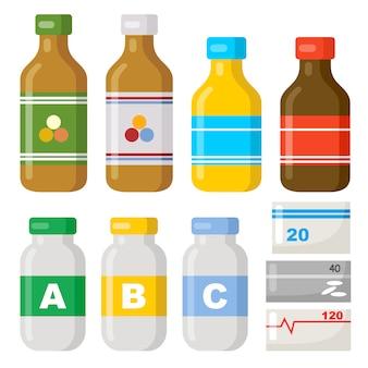 Vasetti con vitamine. farmaci. droghe mediche su uno sfondo bianco