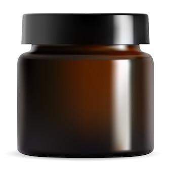 Vasetto di crema cosmetica marrone, coperchio nero. contenitore