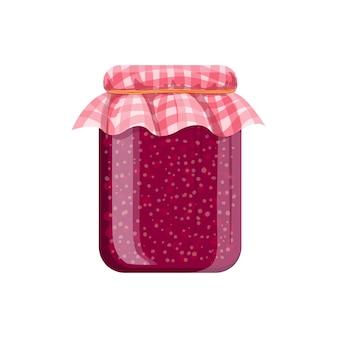 Vasetto di marmellata di lamponi fatta in casa. illustrazione di cartone animato