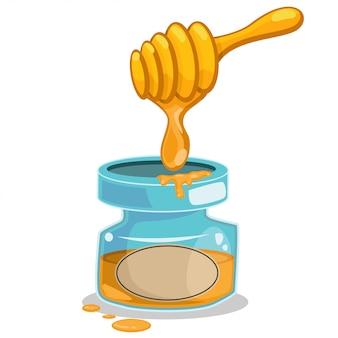 Vasetto di miele e bastone con goccia. illustrazione del fumetto di vettore isolata su bianco