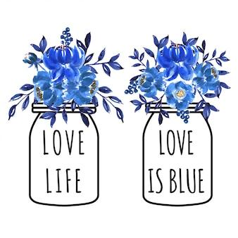 Vaso blu del fiore adorabile dell'acquerello