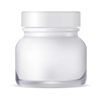 Vaso cosmetico bottiglia di crema di vetro. confezione.