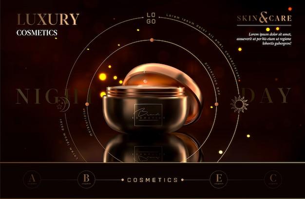 Vaso cosmetico di lusso da notte nero e oro per prodotti per la cura della pelle. crema viso. bellissimo design volantino o banner per annunci cosmetici. elegante modello di crema premium cosmetica. marchio di trucco.