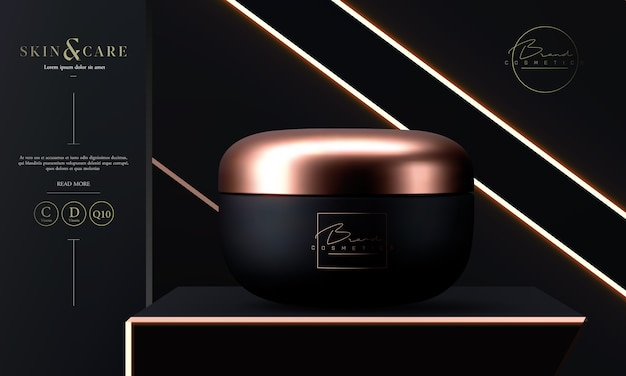 Vaso cosmetico di lusso per la crema per il viso per la cura della pelle sul nero.