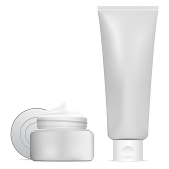 Vaso cosmetico, tubo per crema di bellezza. set di contenitori 3d