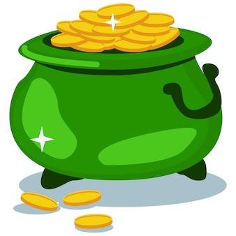 Vaso delle monete di oro su bianco