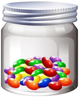 Vaso di caramelle colorate
