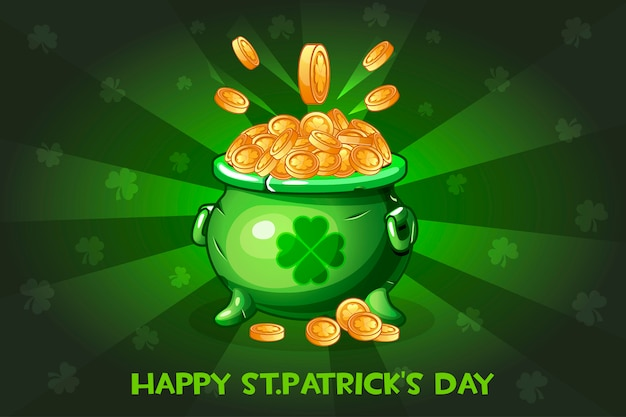 Vaso di cartone animato con moneta. illustrazione happy st.patrick's day