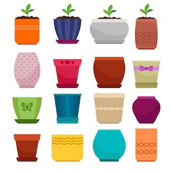 Vaso di fiori e collezione di vasi semplici etnici isolato su bianco
