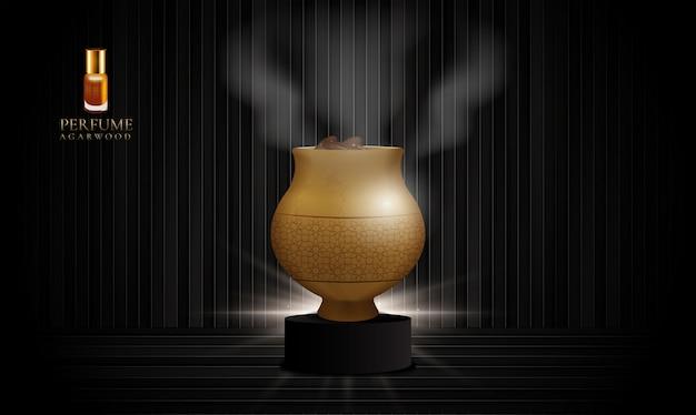 Vaso di legno di agar su un podio nero