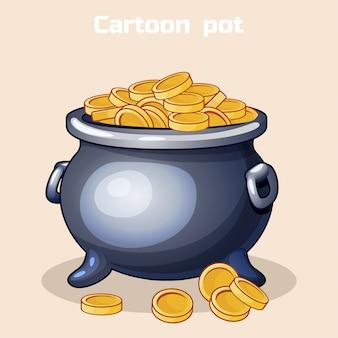 Vaso di metallo dei cartoni animati pieno di monete d'oro
