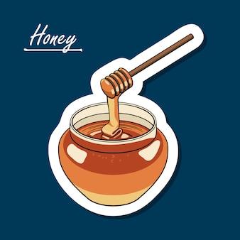 Vaso di miele disegnato a mano