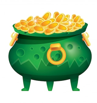 Vaso di monete d'oro isolato. calderone verde con ammaccature.