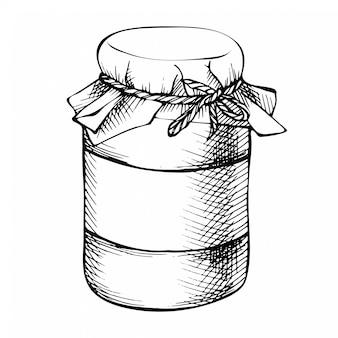 Vaso di muratore disegnato a mano di inchiostro di schizzo, bottiglia. barattolo conservante di vetro decorativo d'annata isolato su bianco.