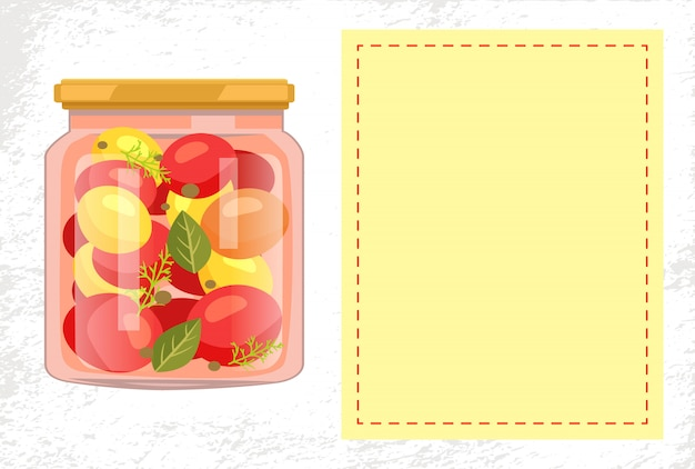 Vaso di pomodori in scatola con cornice vuota
