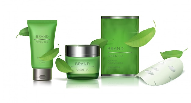 Vaso di vetro verde e maschera facciale