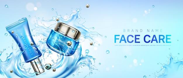 Vaso e tubo della crema per il viso dei cosmetici sulla spruzzata dell'acqua