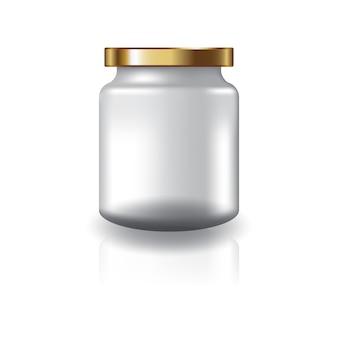 Vaso rotondo trasparente bianco con coperchio dorato per integratori o prodotti alimentari.