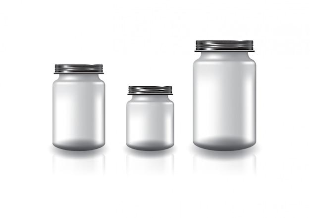 Vaso tondo trasparente bianco con coperchio a vite nero.