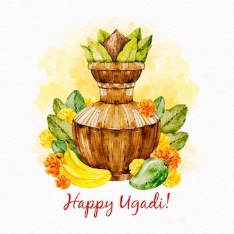Vaso ugadi dell'acquerello con foglie e frutta