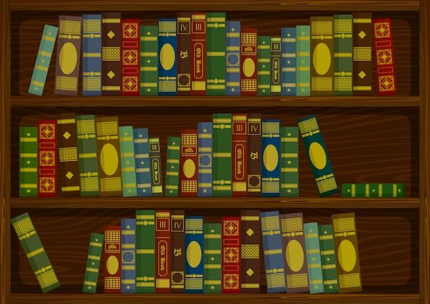 Vecchi libri d'annata sullo scaffale di legno dall'illustrazione di riserva di vettore di vista laterale