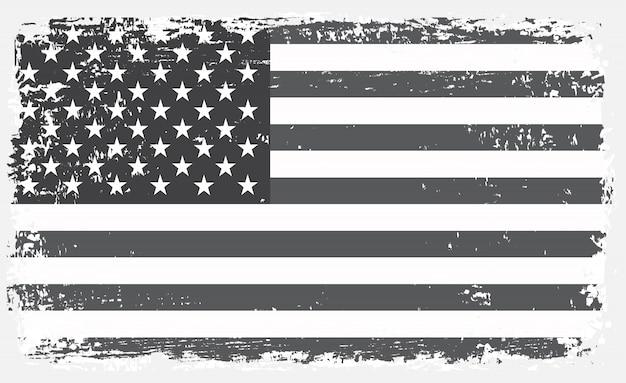 Vecchia bandiera americana in bianco e nero