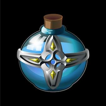 Vecchia bottiglia con croce in metallo e diamanti, magica acqua santa in vetro.